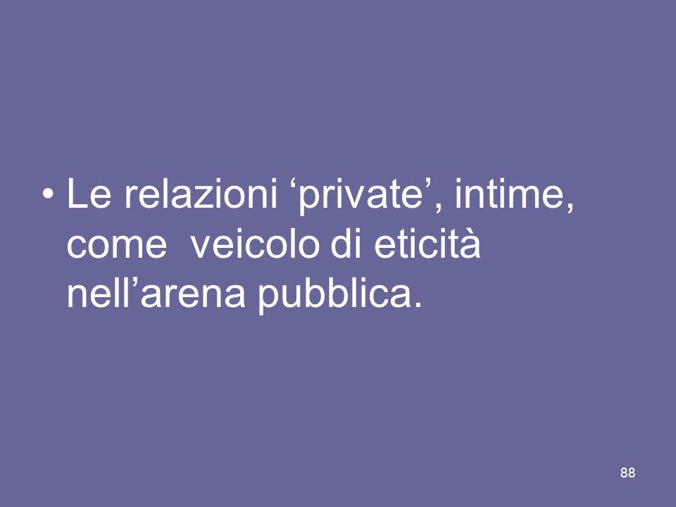 Le relazioni 'private', intime, come veicolo di eticità nell'arena pubblica. 88