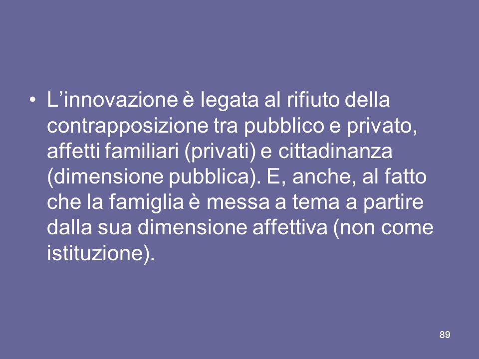 L'innovazione è legata al rifiuto della contrapposizione tra pubblico e privato, affetti familiari (privati) e cittadinanza (dimensione pubblica). E,