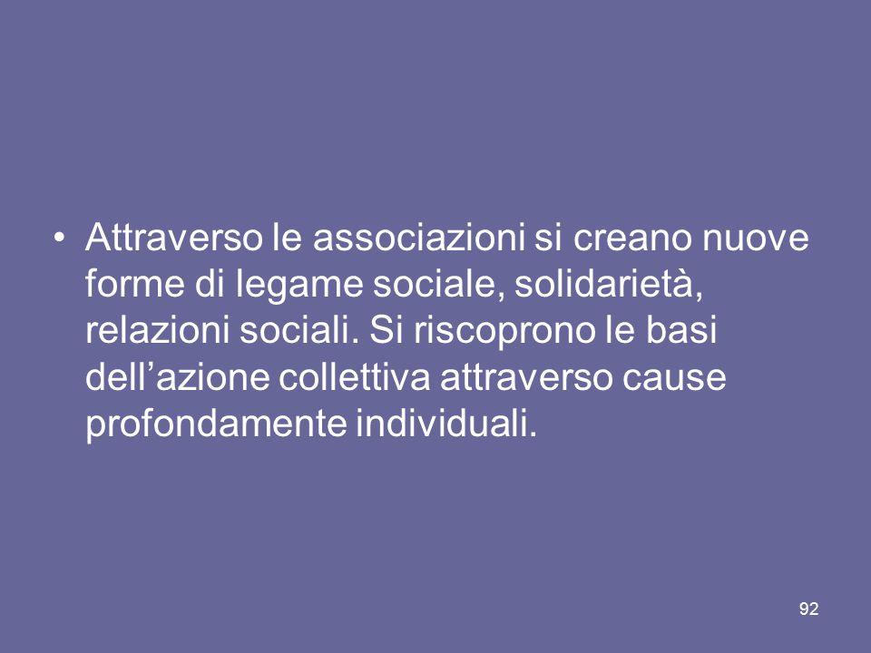 Attraverso le associazioni si creano nuove forme di legame sociale, solidarietà, relazioni sociali. Si riscoprono le basi dell'azione collettiva attra