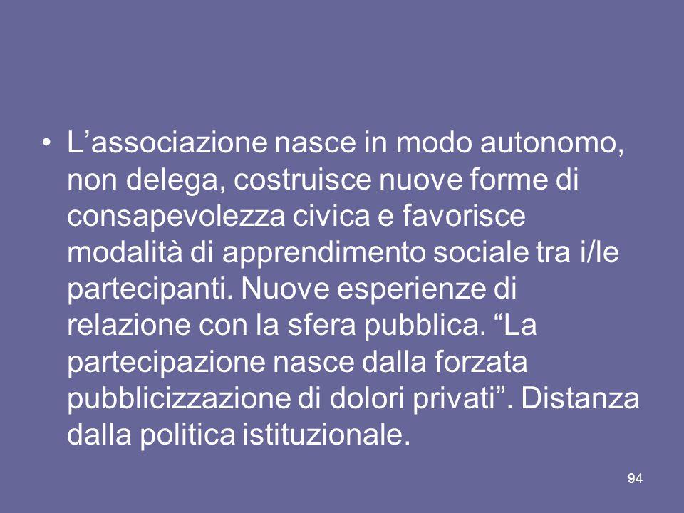 L'associazione nasce in modo autonomo, non delega, costruisce nuove forme di consapevolezza civica e favorisce modalità di apprendimento sociale tra i