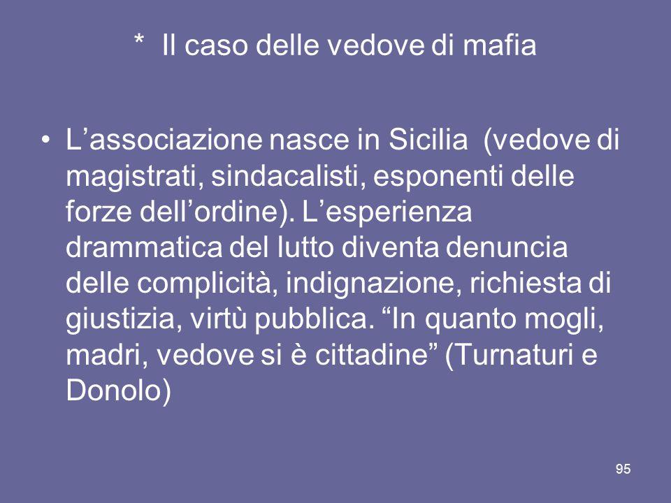 * Il caso delle vedove di mafia L'associazione nasce in Sicilia (vedove di magistrati, sindacalisti, esponenti delle forze dell'ordine). L'esperienza
