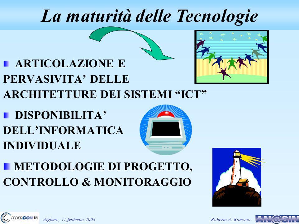 ARTICOLAZIONE E PERVASIVITA' DELLE ARCHITETTURE DEI SISTEMI ICT DISPONIBILITA' DELL'INFORMATICA INDIVIDUALE METODOLOGIE DI PROGETTO, CONTROLLO & MONITORAGGIO La maturità delle Tecnologie Alghero, 11 febbraio 2003Roberto A.