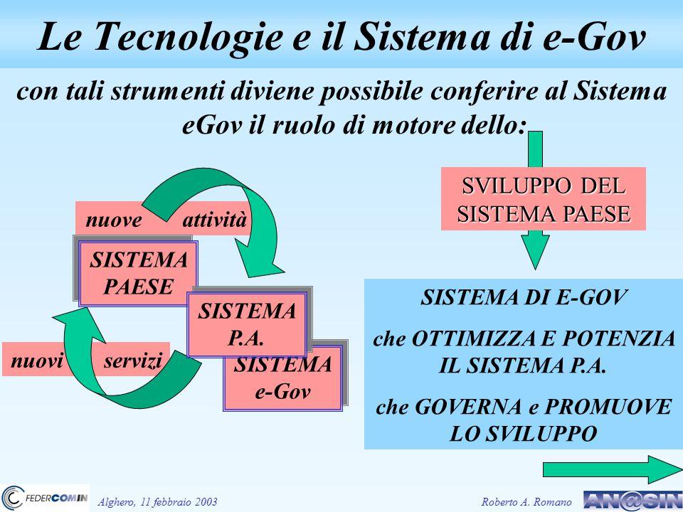 con tali strumenti diviene possibile conferire al Sistema eGov il ruolo di motore dello: SISTEMA DI E-GOV che OTTIMIZZA E POTENZIA IL SISTEMA P.A. che