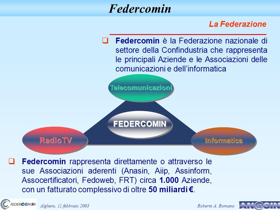 Alghero, 11 febbraio 2003 Federcomin  Federcomin rappresenta direttamente o attraverso le sue Associazioni aderenti (Anasin, Aiip, Assinform, Assocertificatori, Fedoweb, FRT) circa 1.000 Aziende, con un fatturato complessivo di oltre 50 miliardi €.€.