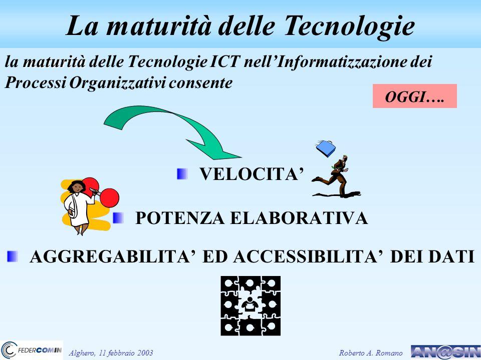 maturità la maturità delle Tecnologie ICT nell'Informatizzazione dei Processi Organizzativi consente VELOCITA' POTENZA ELABORATIVA AGGREGABILITA' ED A