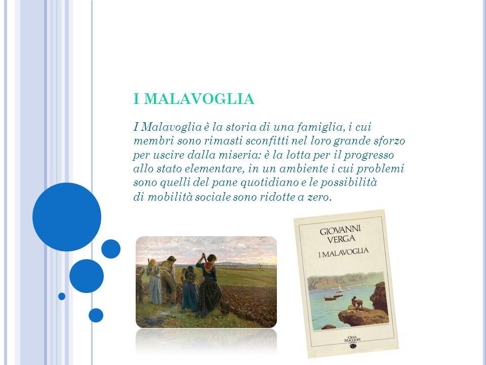 I MALAVOGLIA I Malavoglia è la storia di una famiglia, i cui membri sono rimasti sconfitti nel loro grande sforzo per uscire dalla miseria: è la lotta