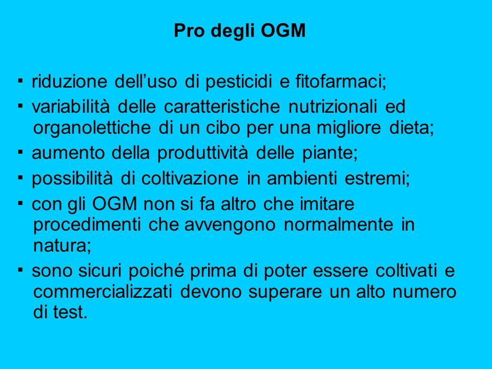 Pro degli OGM ▪ riduzione dell'uso di pesticidi e fitofarmaci; ▪ variabilità delle caratteristiche nutrizionali ed organolettiche di un cibo per una m