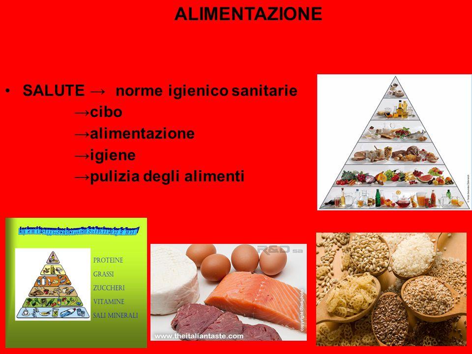 ALIMENTAZIONE SALUTE →norme igienico sanitarie →cibo →alimentazione →igiene →pulizia degli alimenti