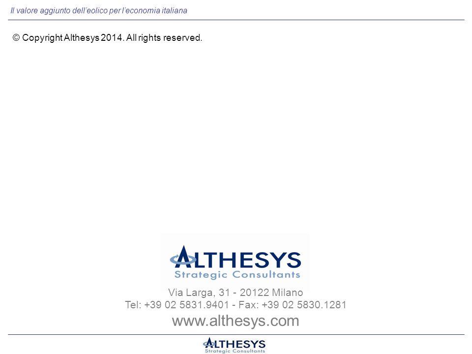 Il valore aggiunto dell'eolico per l'economia italiana Via Larga, 31 - 20122 Milano Tel: +39 02 5831.9401 - Fax: +39 02 5830.1281 www.althesys.com © Copyright Althesys 2014.