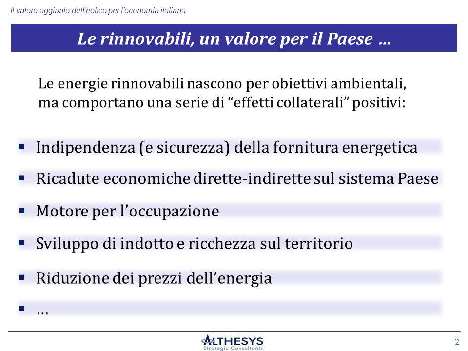 Il valore aggiunto dell'eolico per l'economia italiana 2 Le rinnovabili, un valore per il Paese … Le energie rinnovabili nascono per obiettivi ambientali, ma comportano una serie di effetti collaterali positivi:  Indipendenza (e sicurezza) della fornitura energetica  Ricadute economiche dirette-indirette sul sistema Paese  Motore per l'occupazione  Sviluppo di indotto e ricchezza sul territorio  Riduzione dei prezzi dell'energia ……