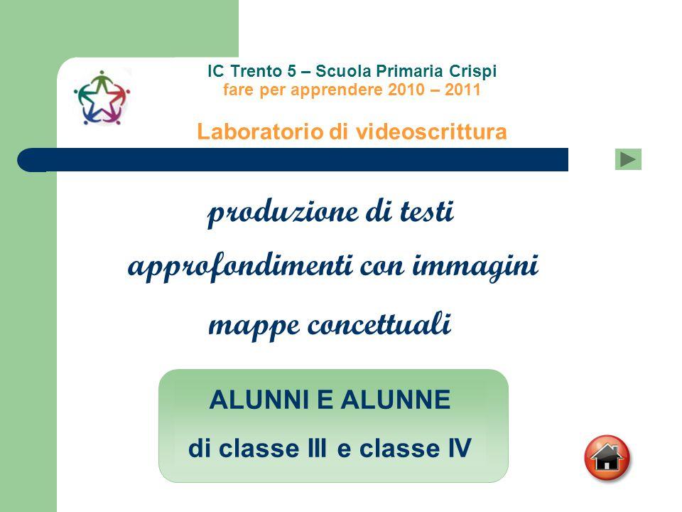 IC Trento 5 – Scuola Primaria Crispi fare per apprendere 2010 – 2011 Laboratorio di videoscrittura produzione di testi mappe concettuali approfondimen