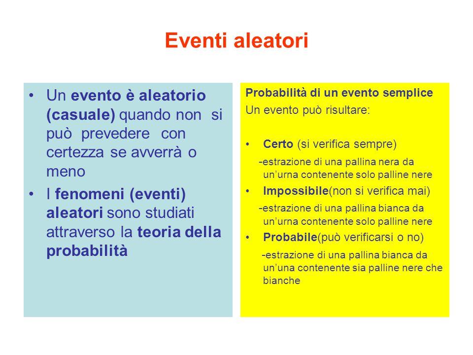 Eventi aleatori Un evento è aleatorio (casuale) quando non si può prevedere con certezza se avverrà o meno I fenomeni (eventi) aleatori sono studiati attraverso la teoria della probabilità Probabilità di un evento semplice Un evento può risultare: Certo (si verifica sempre) - estrazione di una pallina nera da un'urna contenente solo palline nere Impossibile(non si verifica mai) - estrazione di una pallina bianca da un'urna contenente solo palline nere Probabile(può verificarsi o no) - estrazione di una pallina bianca da un'una contenente sia palline nere che bianche