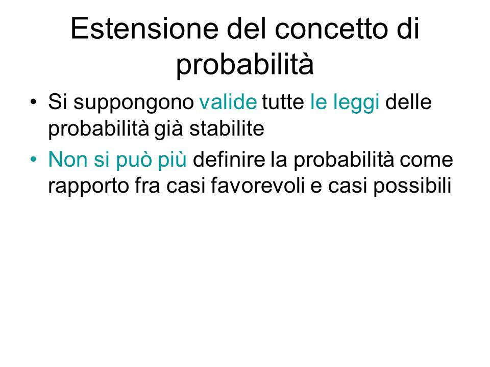 Estensione del concetto di probabilità Si suppongono valide tutte le leggi delle probabilità già stabilite Non si può più definire la probabilità come rapporto fra casi favorevoli e casi possibili