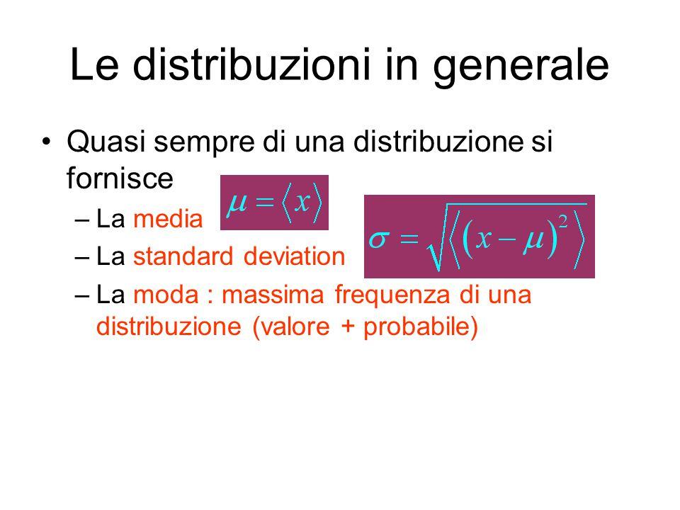 Le distribuzioni in generale Quasi sempre di una distribuzione si fornisce –La media –La standard deviation –La moda : massima frequenza di una distribuzione (valore + probabile)
