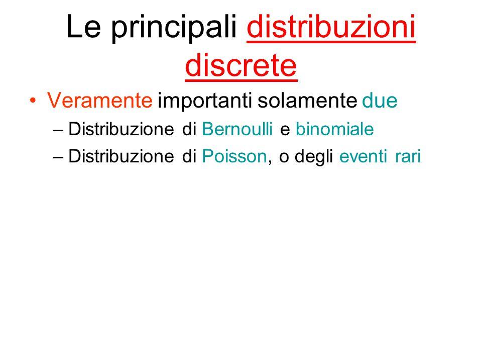 Le principali distribuzioni discrete Veramente importanti solamente due –Distribuzione di Bernoulli e binomiale –Distribuzione di Poisson, o degli eventi rari