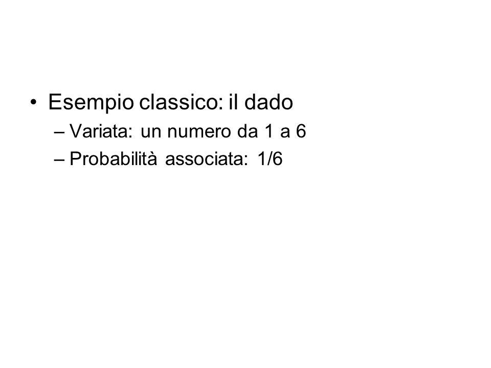 Esempio classico: il dado –Variata: un numero da 1 a 6 –Probabilità associata: 1/6