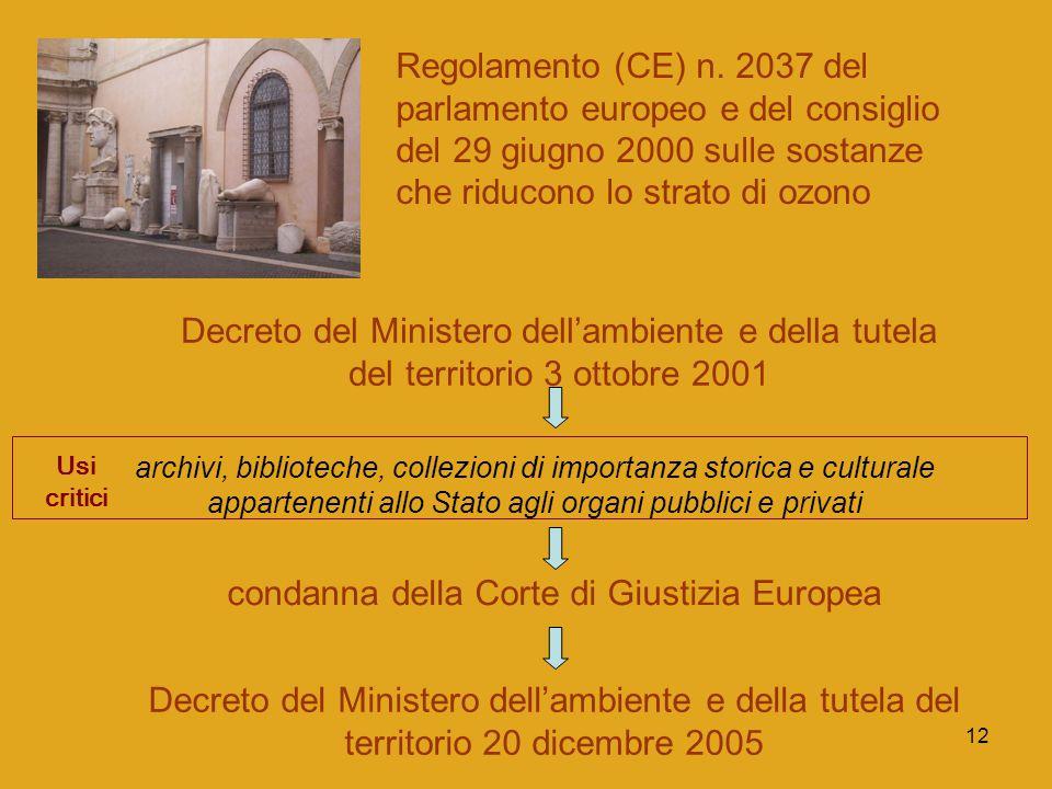 12 Regolamento (CE) n. 2037 del parlamento europeo e del consiglio del 29 giugno 2000 sulle sostanze che riducono lo strato di ozono Decreto del Minis