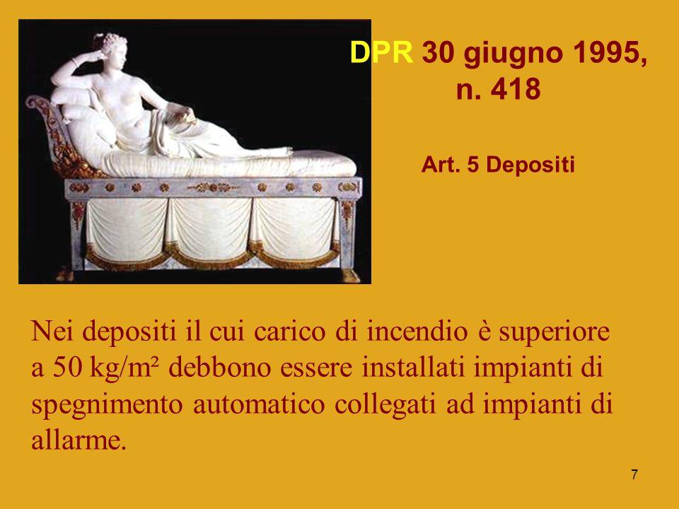 7 DPR 30 giugno 1995, n. 418 Art. 5 Depositi Nei depositi il cui carico di incendio è superiore a 50 kg/m² debbono essere installati impianti di spegn