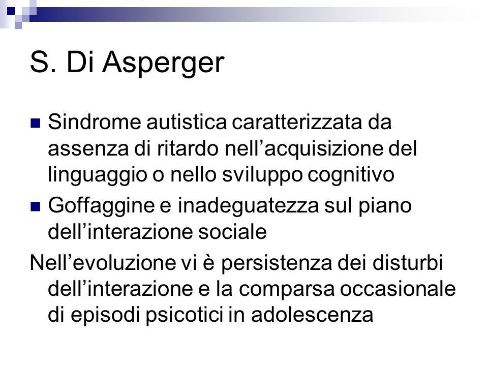 S. Di Asperger Sindrome autistica caratterizzata da assenza di ritardo nell'acquisizione del linguaggio o nello sviluppo cognitivo Goffaggine e inadeg