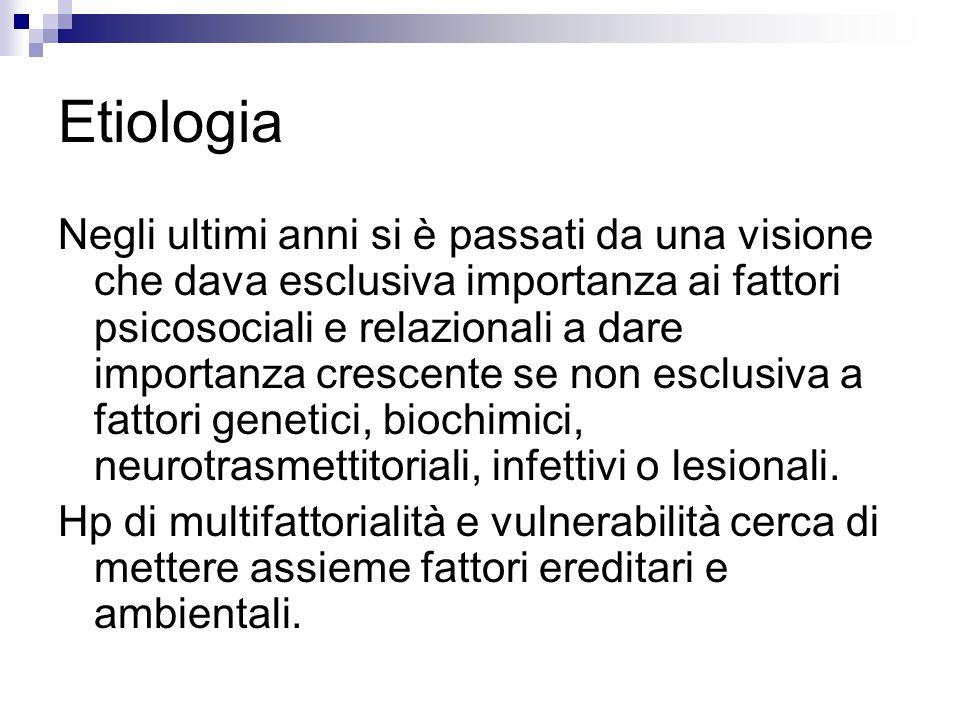 Etiologia Negli ultimi anni si è passati da una visione che dava esclusiva importanza ai fattori psicosociali e relazionali a dare importanza crescent