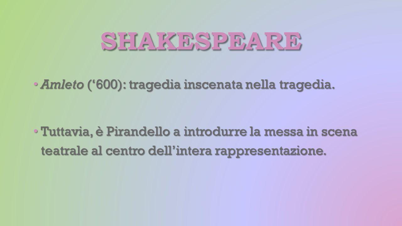 SHAKESPEARE Amleto ('600): tragedia inscenata nella tragedia. Amleto ('600): tragedia inscenata nella tragedia. Tuttavia, è Pirandello a introdurre la