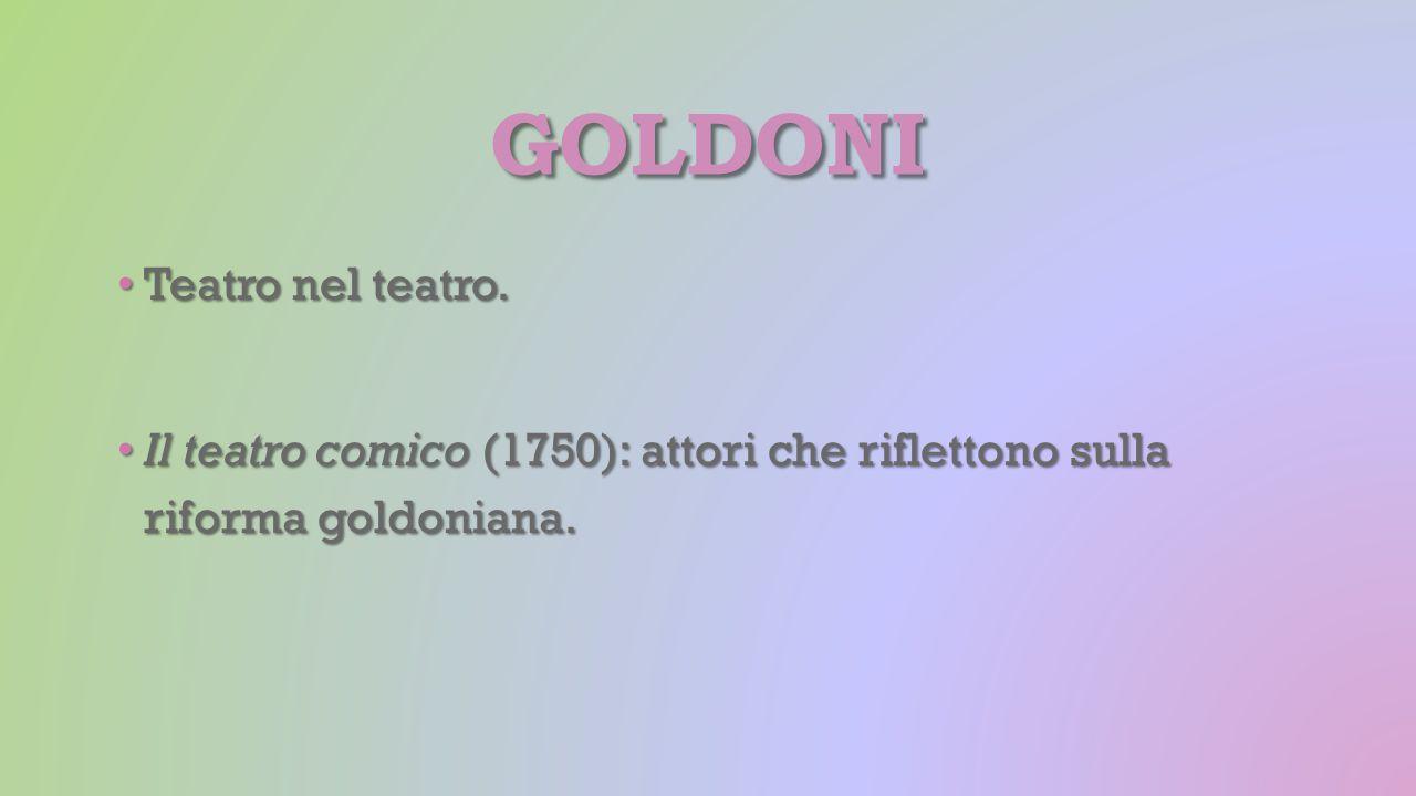 GOLDONI Teatro nel teatro. Teatro nel teatro. Il teatro comico (1750): attori che riflettono sulla riforma goldoniana. Il teatro comico (1750): attori