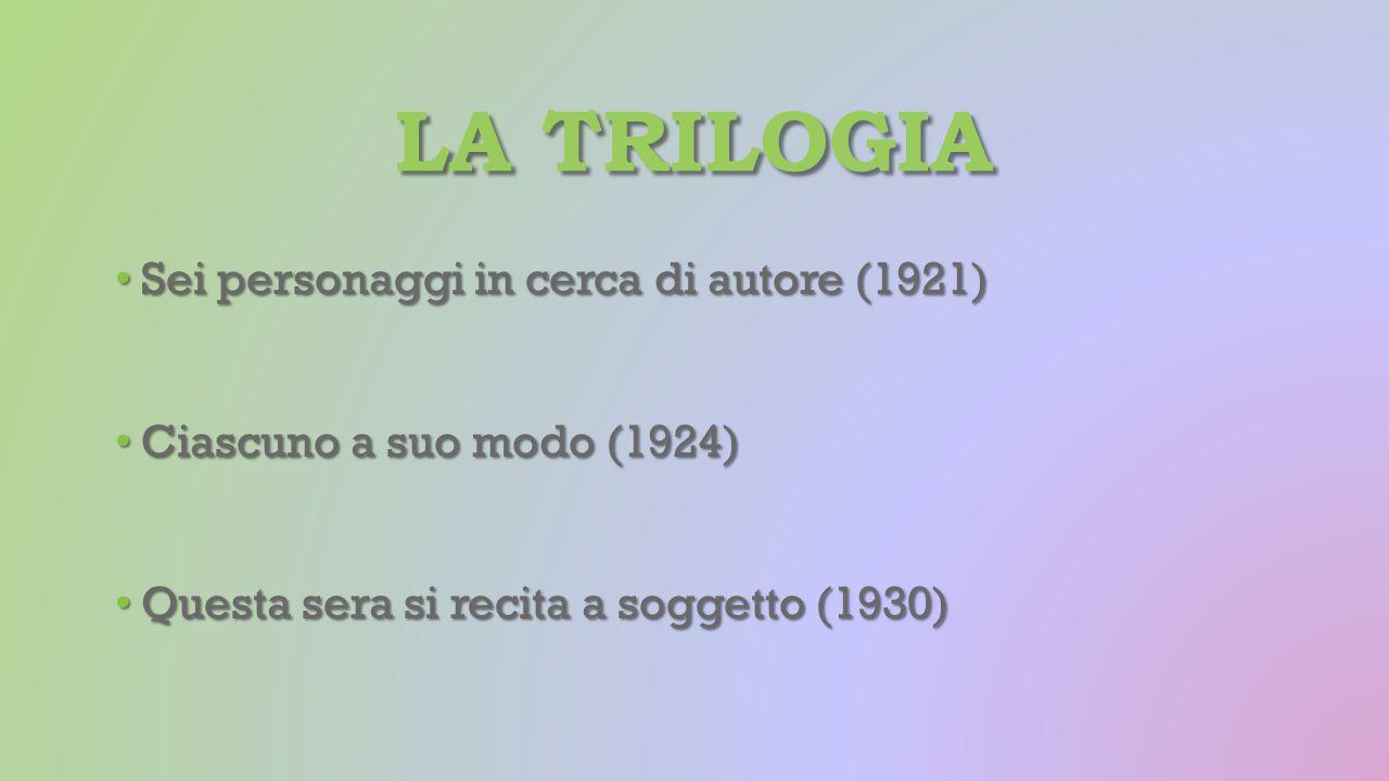 LA TRILOGIA Sei personaggi in cerca di autore (1921) Sei personaggi in cerca di autore (1921) Ciascuno a suo modo (1924) Ciascuno a suo modo (1924) Qu