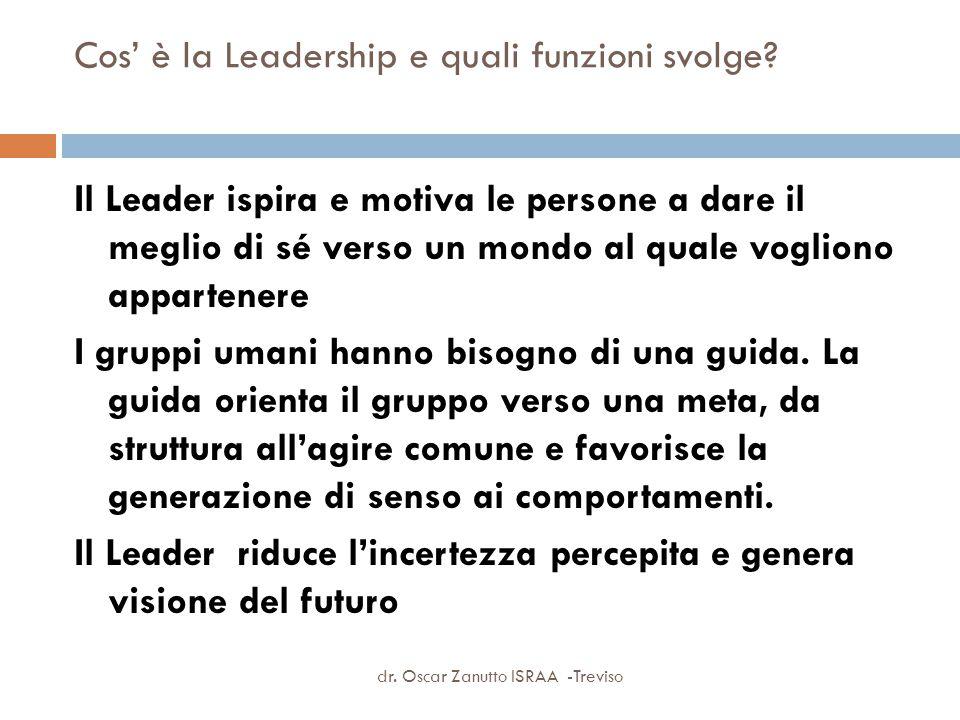 Cos' è la Leadership e quali funzioni svolge? Il Leader ispira e motiva le persone a dare il meglio di sé verso un mondo al quale vogliono appartenere
