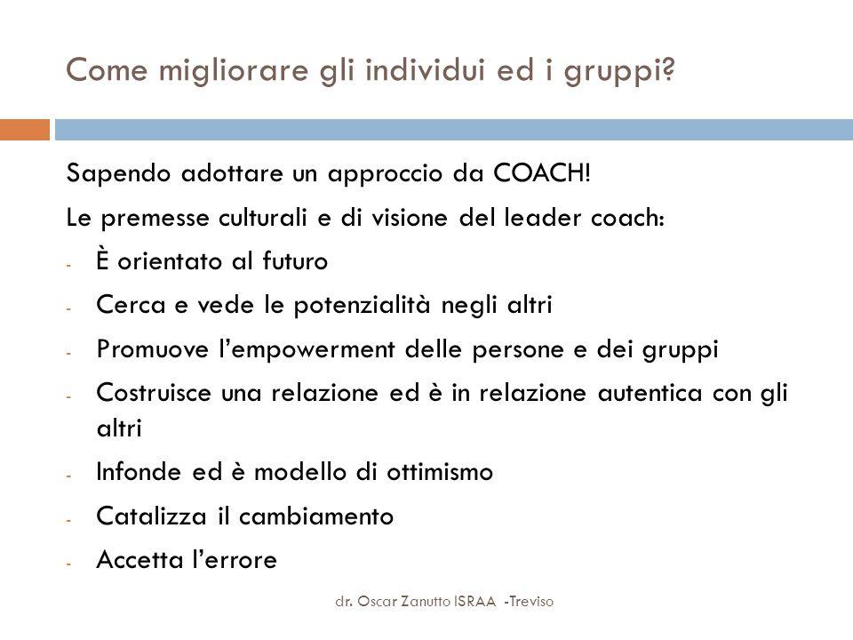 Come migliorare gli individui ed i gruppi? Sapendo adottare un approccio da COACH! Le premesse culturali e di visione del leader coach: - È orientato