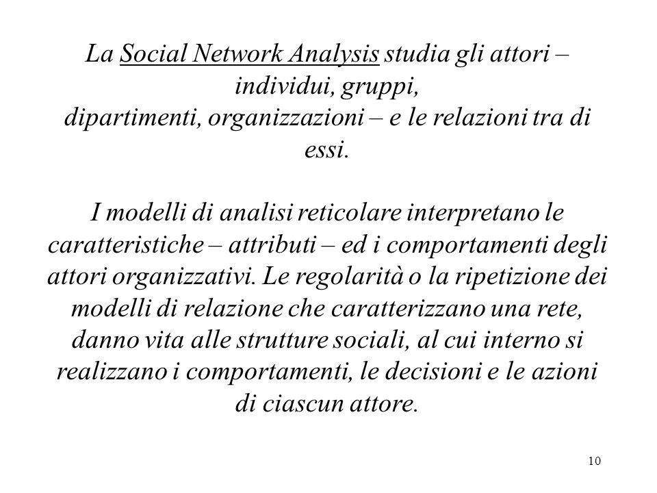 10 La Social Network Analysis studia gli attori – individui, gruppi, dipartimenti, organizzazioni – e le relazioni tra di essi. I modelli di analisi r