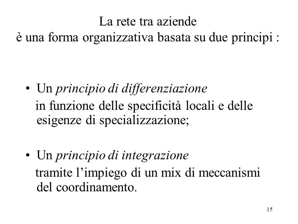 15 La rete tra aziende è una forma organizzativa basata su due principi : Un principio di differenziazione in funzione delle specificità locali e dell