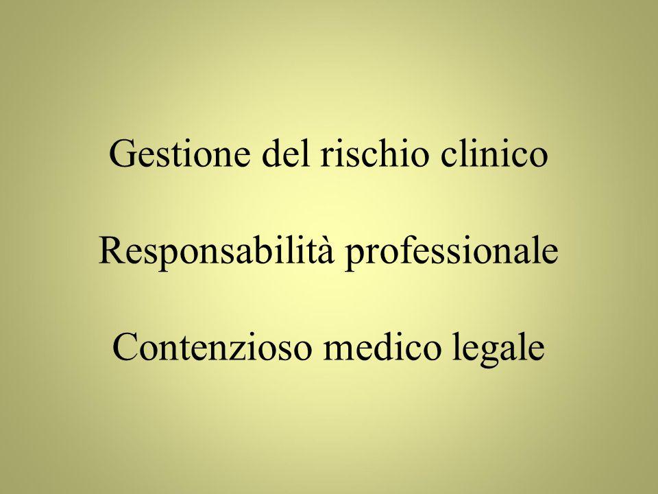 Responsabilità professionale Contenzioso medico legale