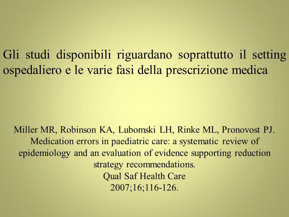 Gli studi disponibili riguardano soprattutto il setting ospedaliero e le varie fasi della prescrizione medica Miller MR, Robinson KA, Lubomski LH, Rinke ML, Pronovost PJ.