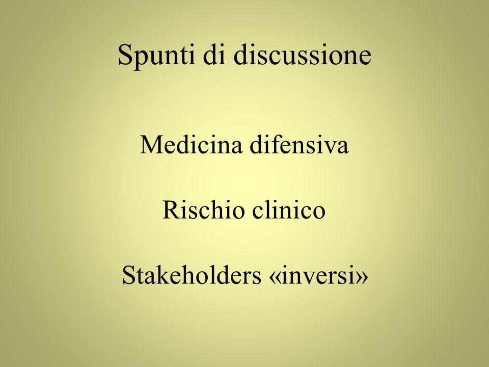 Medicina difensiva Rischio clinico Stakeholders «inversi» Spunti di discussione