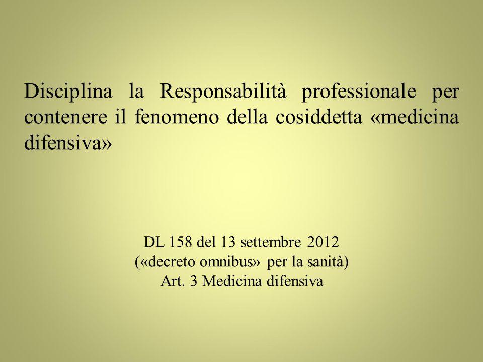Disciplina la Responsabilità professionale per contenere il fenomeno della cosiddetta «medicina difensiva» DL 158 del 13 settembre 2012 («decreto omnibus» per la sanità) Art.