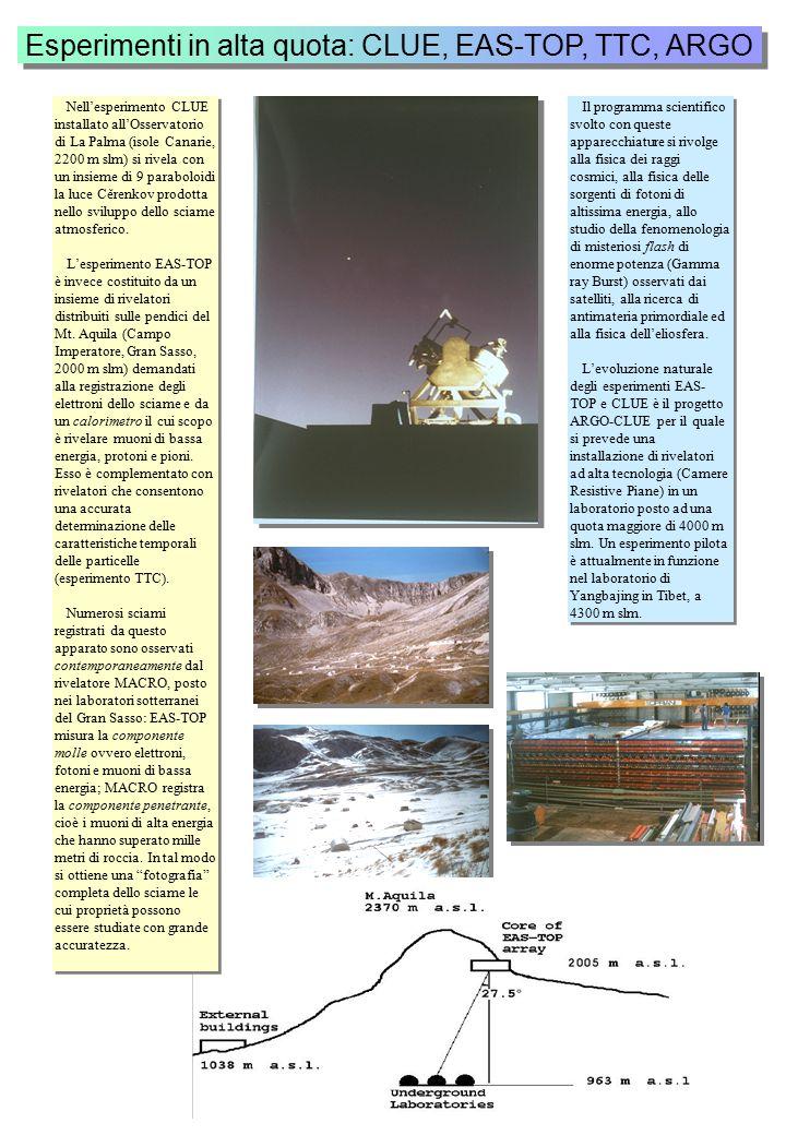 Esperimenti in alta quota: CLUE, EAS-TOP, TTC, ARGO Nell'esperimento CLUE installato all'Osservatorio di La Palma (isole Canarie, 2200 m slm) si rivela con un insieme di 9 paraboloidi la luce Cěrenkov prodotta nello sviluppo dello sciame atmosferico.