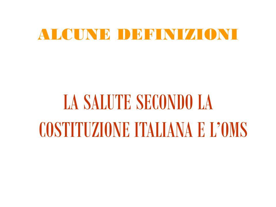 ALCUNE DEFINIZIONI LA SALUTE SECONDO LA COSTITUZIONE ITALIANA E L'OMS