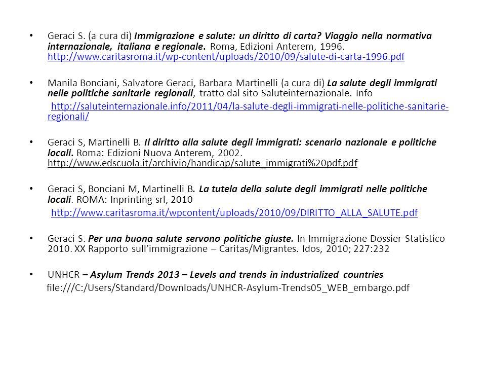 Geraci S.(a cura di) Immigrazione e salute: un diritto di carta.