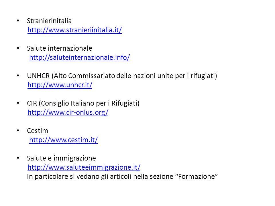 Stranierinitalia http://www.stranieriinitalia.it/ Salute internazionale http://saluteinternazionale.info/ UNHCR (Alto Commissariato delle nazioni unite per i rifugiati) http://www.unhcr.it/ CIR (Consiglio Italiano per i Rifugiati) http://www.cir-onlus.org/ Cestim http://www.cestim.it/ Salute e immigrazione http://www.saluteeimmigrazione.it/ In particolare si vedano gli articoli nella sezione Formazione