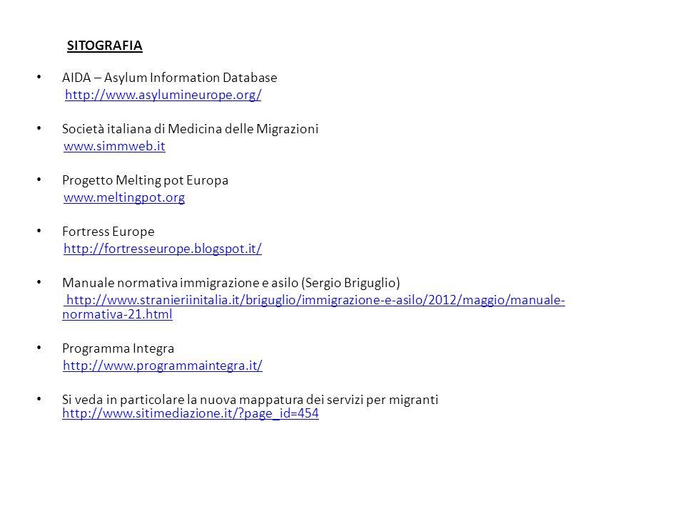 SITOGRAFIA AIDA – Asylum Information Database http://www.asylumineurope.org/ Società italiana di Medicina delle Migrazioni www.simmweb.it Progetto Melting pot Europa www.meltingpot.org Fortress Europe http://fortresseurope.blogspot.it/ Manuale normativa immigrazione e asilo (Sergio Briguglio) http://www.stranieriinitalia.it/briguglio/immigrazione-e-asilo/2012/maggio/manuale- normativa-21.html Programma Integra http://www.programmaintegra.it/ Si veda in particolare la nuova mappatura dei servizi per migranti http://www.sitimediazione.it/?page_id=454 http://www.sitimediazione.it/?page_id=454