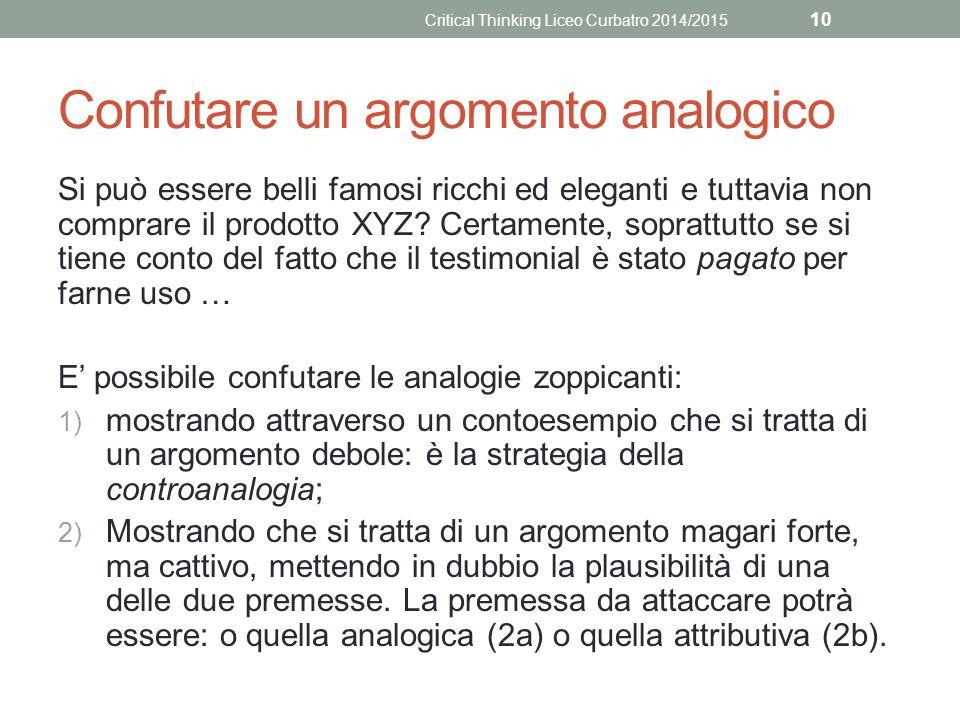 Confutare un argomento analogico Si può essere belli famosi ricchi ed eleganti e tuttavia non comprare il prodotto XYZ.