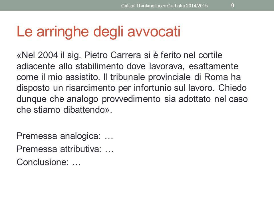Le arringhe degli avvocati «Nel 2004 il sig. Pietro Carrera si è ferito nel cortile adiacente allo stabilimento dove lavorava, esattamente come il mio