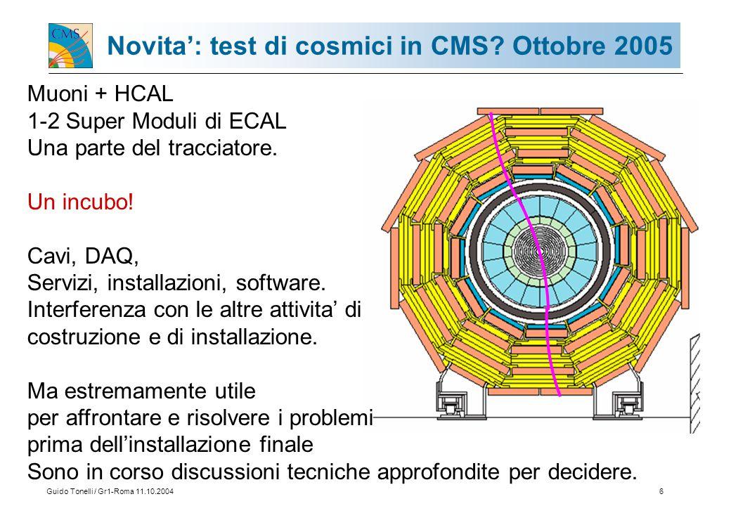 Guido Tonelli / Gr1-Roma 11.10.200417 Suddivisione M&O-B 2005 CMS Italia risulta contribuire ai M&O-B per il 12% di ECAL (11,7 nel 2004) Il 29,8% del TRACKER (22,7% nel 2004) Lo 0,9% del TRIGGER.