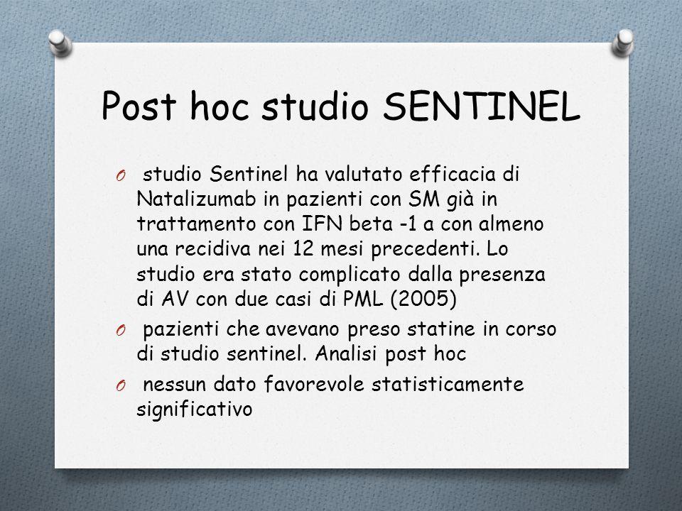 Post hoc studio SENTINEL O studio Sentinel ha valutato efficacia di Natalizumab in pazienti con SM già in trattamento con IFN beta -1 a con almeno una