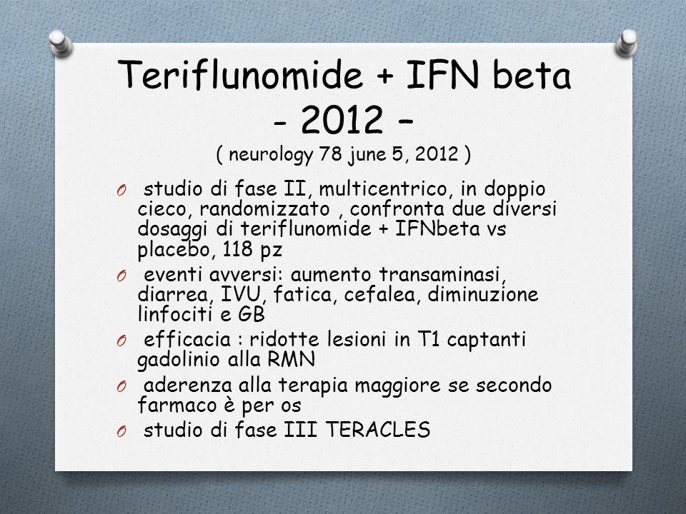 Teriflunomide + IFN beta - 2012 – ( neurology 78 june 5, 2012 ) O studio di fase II, multicentrico, in doppio cieco, randomizzato, confronta due diver