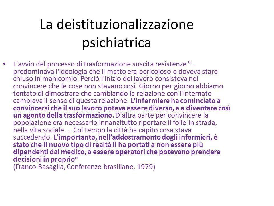 La deistituzionalizzazione psichiatrica Si organizzano gruppi di convivenza e gruppi appartamento: dapprima all interno dell ospedale, poi in città.