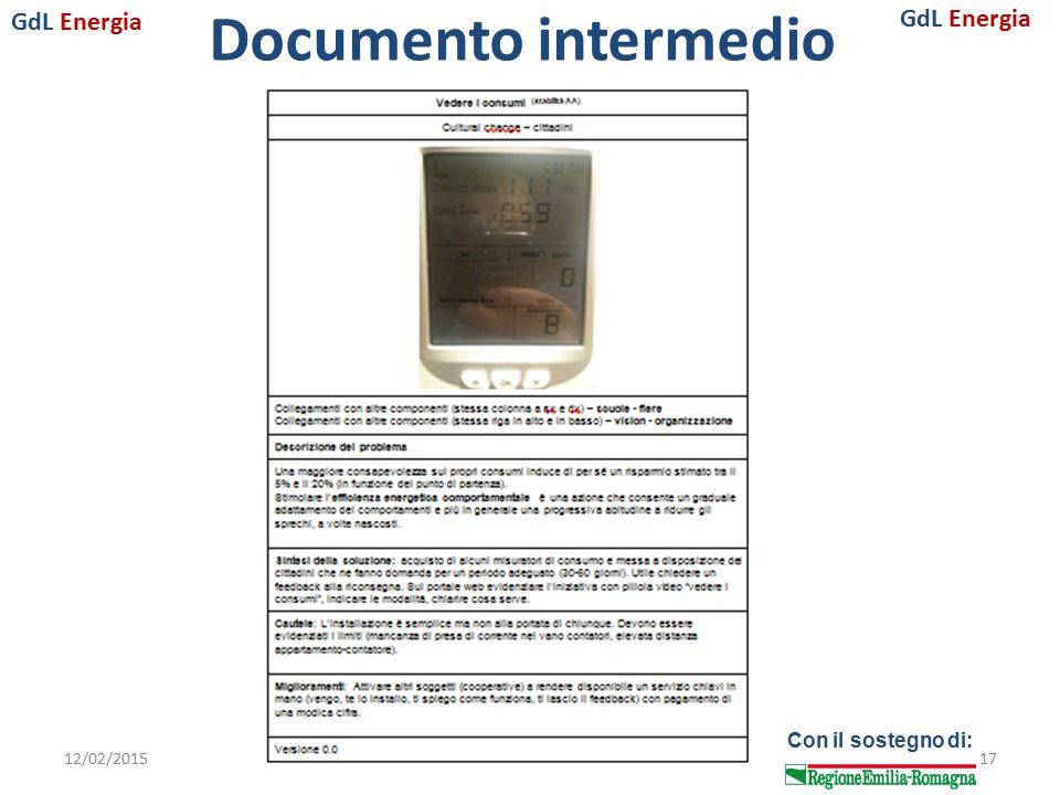 GdL Energia Con il sostegno di: Documento intermedio 12/02/2015I incontro 201517