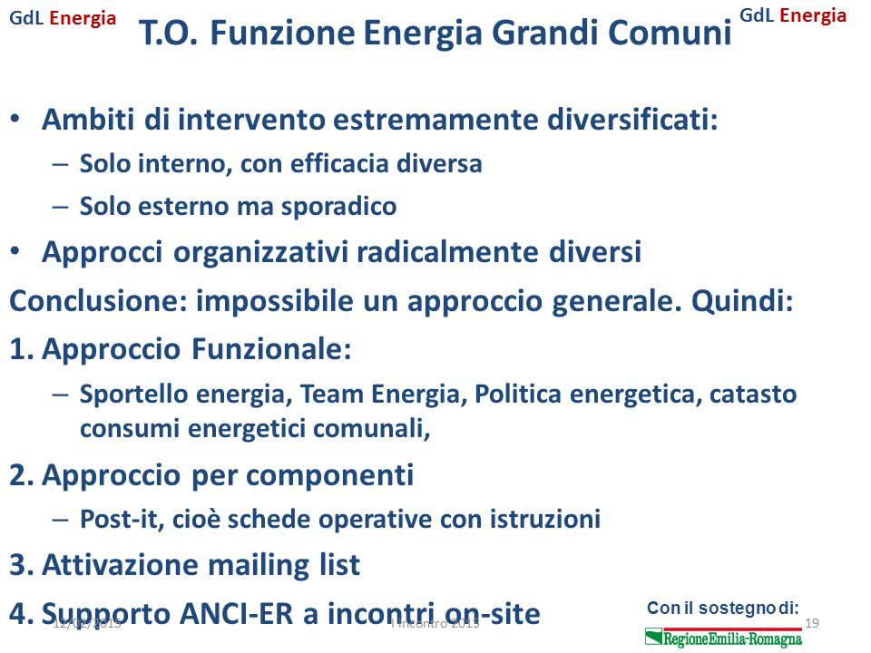 GdL Energia Con il sostegno di: T.O. Funzione Energia Grandi Comuni Ambiti di intervento estremamente diversificati: – Solo interno, con efficacia div