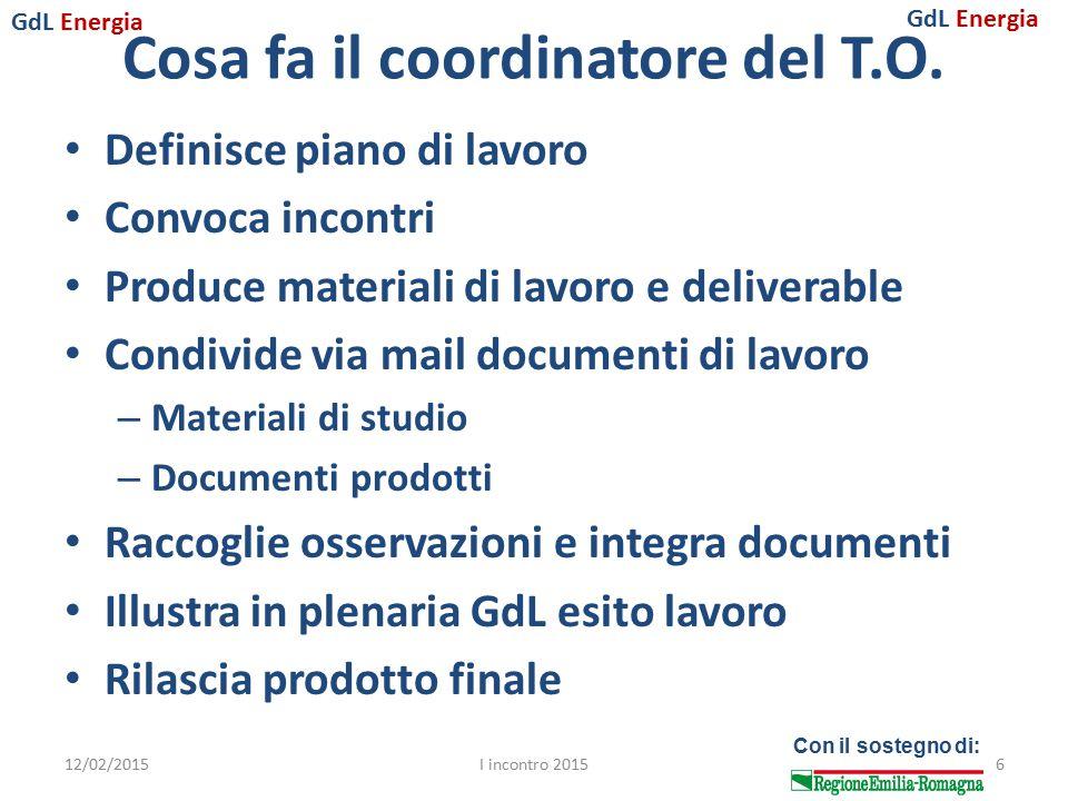 GdL Energia Con il sostegno di: Cosa fa il coordinatore del T.O. Definisce piano di lavoro Convoca incontri Produce materiali di lavoro e deliverable