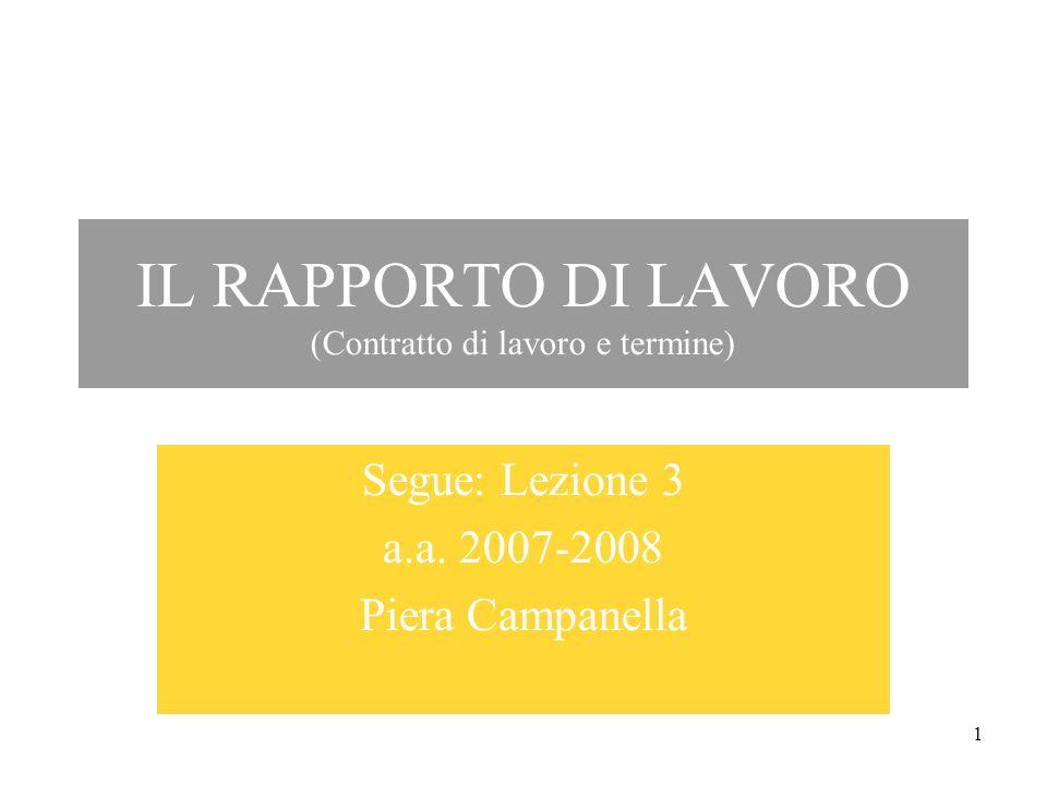 1 IL RAPPORTO DI LAVORO (Contratto di lavoro e termine) Segue: Lezione 3 a.a.